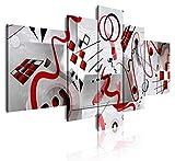DekoArte 485 - Cuadros Modernos Impresión de Imagen Artística Digitalizada | Lienzo Decorativo Para Tu Salón o Dormitorio | Estilo Abstractos Moderno Arte Kandinsky Rojo Plata | 5 Piezas 180x85cm XXL