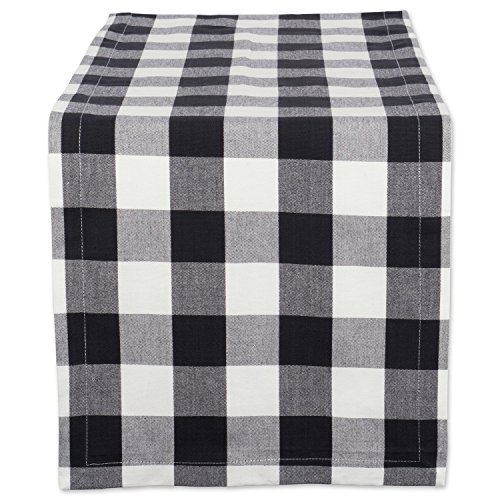 DII Buffalo Check Collection Classic Camino de Mesa, 14 x 72, Blanco y Negro