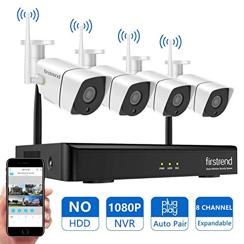 Home Security Camera System Wireless 1080P NVR with 4pcs 720P HD Cameras 65ft Night Vision for Outdoor Indoor Without Hard Drive DVR Kits Surveillance