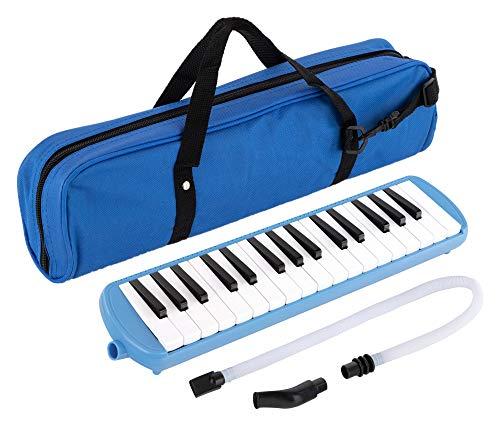 Classic Cantabile 32 Tasten Melodica mit Tasche - Melodika für Kinder und Erwachsene - Inkl. Schlauch und Mundstücke - Blasinstrument mit Tragetasche - Blau