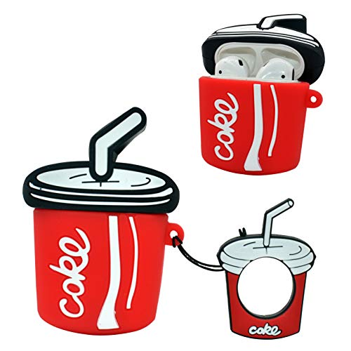 Airpod Case,Thick and Soft cans of Silicone Coca-Cola,Soft Silicone Shockproof Key Chain airpods Charging Box,for Boys and Girls,Compatible airpods Skin Cases(Straw Coca-Cola)