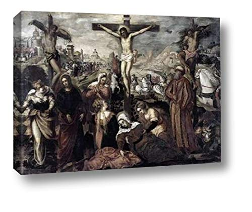 """Crucifixion by Jacopo Tintoretto - 18"""" x 24"""" Canvas Art Print Gallery Wrapped - Ready to Hang"""