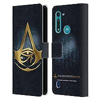 Head Case Designs オフィシャル ライセンス商品 Assassin's Creed ヒエログリフ Origins クレスト Motorola Moto G8 Power Lite 専用レザーブックウォレット カバーケース