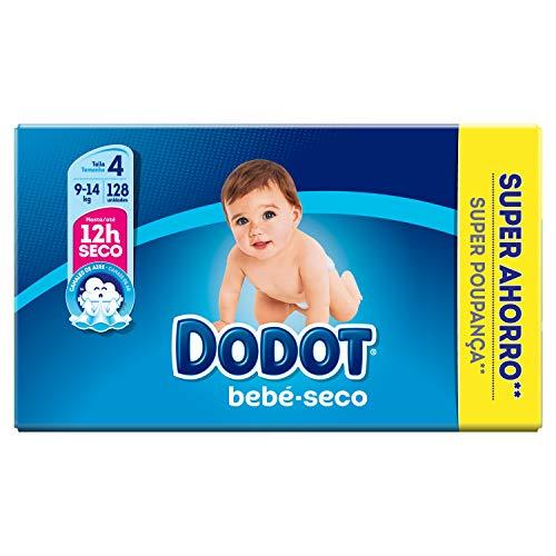 Dodot Bebé-Secco Pannolini con canali d'aria, taglia 4, 2 pezzi x 64 pannolini, Totale: 128 pannolini
