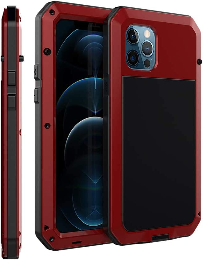 """CarterLily Compatible with iPhone 12/12 Pro 6.1"""" 2020, Full Body Shockproof Dustproof Waterproof Aluminum Alloy Metal Gorilla Glass Cover Case for iPhone 12/12 Pro 6.1 inch (Red)"""