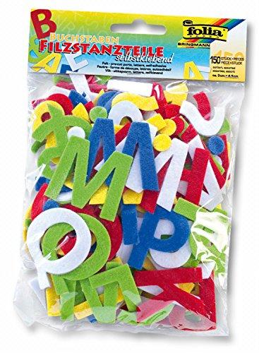 folia 5261 - Filzstanzteile Buchstaben, selbstklebend, 150 Stück, farbig sortiert, je ca. 4,5 cm groß