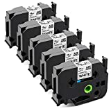 Airmall Compatible Label Tape Replacement for Brother TZ TZe-241 TZe241 P Touch Tape 18mm 0.7 Inch TZe Tape Laminated Black on White for Brother P-Touch PT-D400 PT-D600 PTP750W Label Maker, 5 Pack