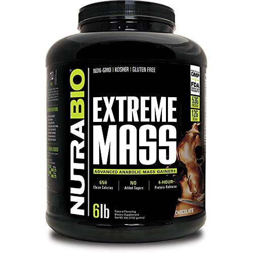 NutraBio Extreme Mass - 53G Protein - Advanced Anabolic Muscle Mass Gainer Protein - High Calorie - Full Spectrum Amino Acid - Chocolate, 6 Pound
