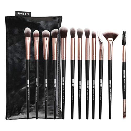 Posional Pinceaux de Maquillage Professionnels, Kit de 12PCS Fondation Cosmetic Poils Synthétiques Vegan Makeup Cosmétique pour Fondation Mélange Blush Yeux Visage Poudre+Sac