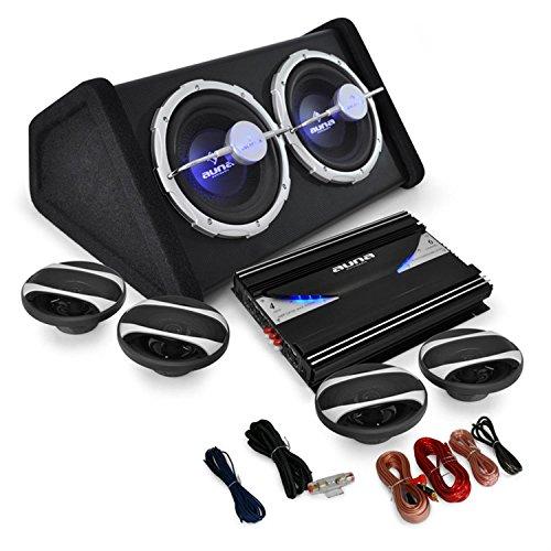 auna 4.1 Auto Lautsprecherset Komplett HiFi Set Black Line 500 5000W Endstufe Verstärker 16cm Boxen Subwoofer
