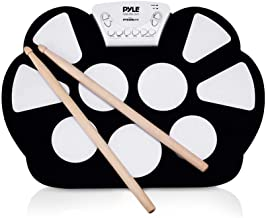 Pyle Electronic Roll Up MIDI Drum Kit - W/ 9 Electric Drum Pads, Foot Pedals, Drumsticks, & Power Supply Tabletop Roll Up Drum Kit   Loaded W/ Drum Electric Kits & Songs - Pyle PTEDRL11