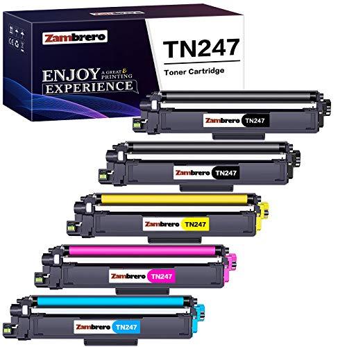 Zambrero TN247 TN243 Toner Druckerpatronen Ersatz für Brother TN-247 TN-243 Tonerkartusche für Brother MFC-L3750CDW L3770CDW L3730CDN L3710CW, HL-L3230CDW L3270CDW L3210CW, DCP-L3550CDW L3510CDW