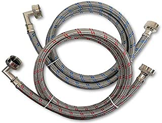 Premium Stainless Steel Washing Machine Hoses with 90 Degree Elbow, 5 Ft Burst Proof (2 Pack) Red and Blue Striped Water Connection Inlet Supply Lines - Lead Free