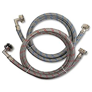Premium Stainless Steel Washing Machine Hoses with 90 Degree Elbow, 4 Ft Burst Proof (2 Pack) Red and Blue Striped Water Connection Inlet Supply Lines – Lead Free