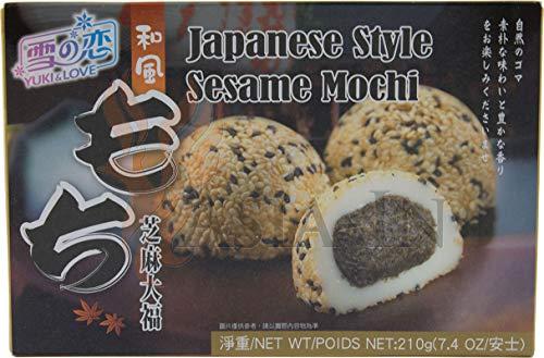 Yuki & Love Japanischer Style Sesam Mochi, Reiskuchen 210g (6 x 35g)