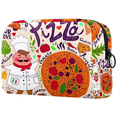 Bolsa de cosméticos Bolsa de Maquillaje Grande Bolsa con Cremallera Bolsa de Aseo Organizador portátil de cosméticos de Viaje Chef de Dibujos Animados y Pizza para Mujeres y niñas