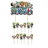 Yetxel- One Piece game anime theme party cake topper Happy birthday cake topper pirate theme birthday party cake topper kids boy girl game anime theme happy birthday cake topper kids party decorations(13pcs)