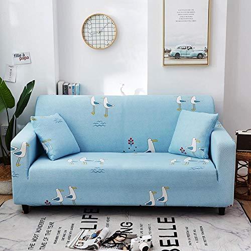 Fundas Sofas 3 y 2 Plazas Ajustables Pájaro Azul Fundas Sofa Elasticas,Funda de Sofa Chaise Longue,Moderna Cubre Sofa,La Funda para Sofa Jacquard de Poliéster (145-185cm)