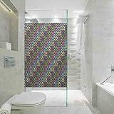 Película de vidrio estática sin pegamento, colorido vibrante patrón de colores con cuadrados y líneas diagonales, sala de estar, dormitorio, cocina, vestíbulo, porche, oficina, 23.6 x 79.9 pulgadas