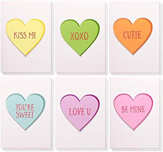 Best Paper Greetings 12-Pack Cute Handmade Valentine's Day Greeting Cards - Colorful Candy Hearts Design with Envelopes, 5 x 7 Inches