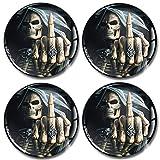SkinoEu® 4 x 65mm Adesivi Resinati 3D Gel Stickers Auto Coprimozzo Universale Logo Silicone Autoadesivo Stemma Adesivo Copricerchi Tappi Ruote Colore Teschio Skull Dito Medio A 2565