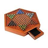 Yuxinkang Wooden Checkers - Juego De Mesa De Damas Chinas con Cajón De Almacenamiento, Juegos De Escritorio Hexagonales Tradicionales De Damas Chinas, Juegos De Mesa Familiares/De Viaje