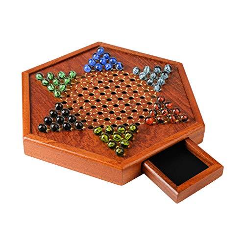 Ljourney Hölzernes Chinesisches Dame Halma Brettspiel-Set, Chinesisches Dame-Brettspielset Mit Speicherschublade Glasmarmor