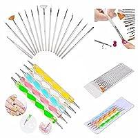 Boolavard® 20pc Nail Art Manicure Pedicure Beauty Painting Polish Brush and Dotting Pen Tool Set for Natural, False, Acrylic and Gel Nails