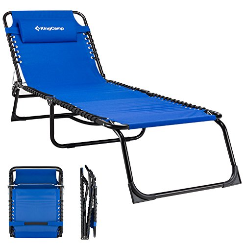 Kingcamp Folding Outdoor Chaise Lounge Chair Cot Bed For Beach Sunbathing Patio Pool Lawn Deck Portable Lightweight Heavy Duty Adjustable Camping 3 Fold Reclining Chair With Pillow Blue Buy Online In Lithuania At Lithuania Desertcart Com