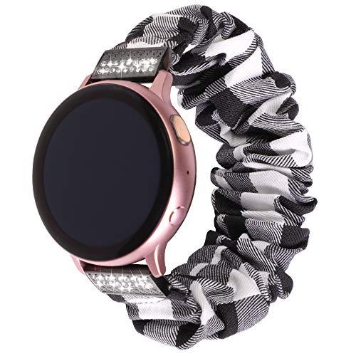 YPSNH Compatible para Samsung Galaxy Watch 42mm Correa Lady Scrunchie 20mm Correa de Reloj Reemplazo Mujer Pulsera Elástica para Galaxy Active/Active 2 40mm/Active 2 44mm/Vivoactive 3