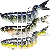 TRUSCEND Fishing Lures for Bass 4' Multi Jointed Swimbaits Slow Sinking Hard Lure Fishing Tackle Kits Lifelike