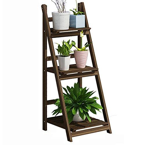 HPLL Grilles de rangement Type de plancher Solide bois Fleur Stand Salon Balcon Jardin Multicouche Pliage Pot à fleurs Rack (taille : 106 * 40 * 42CM)
