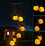 WavKin LED Solar Powered Wind Chimes Outdoor Pumpkin Decorations, Pumpkin String ligh Wind Chime Indoor Outdoor Waterproof Decor Mobile Lights ,LED WindChimes for Outside Holiday Porch, Garden Party