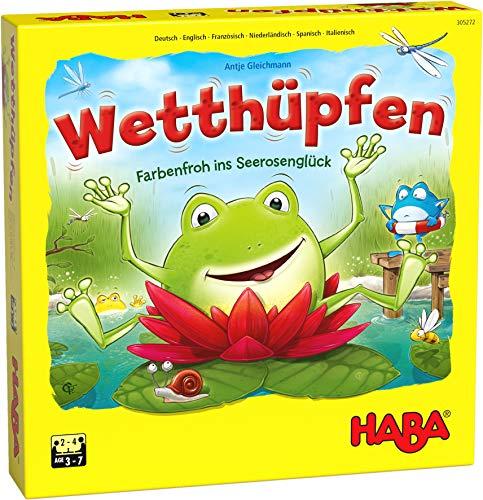 HABA 305272 - Wetthüpfen, Würfelspiel für Kinder von 3 bis 7 Jahren mit unterschiedlichen Spielvarianten, Spielmaterial aus stabiler Pappe und Holz, Spiel ab 3 Jahren