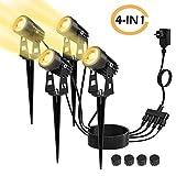 Gartenleuchte mit Erdspieß, Kohree 4er 3W Gartenbeleuchtung Warmweiß COB LED Gartenleuchten IP65 Wasserdicht, Gartenstrahler mit Stecker, Außenleuchte Gartenlampe Außenbeleuchtung [Energieklasse A+++]