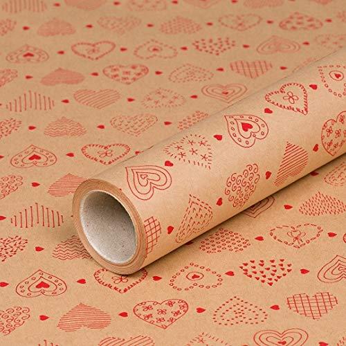 Geschenkpapier Rote Herzen, Kraftpapier, glatt, 60 g/m², Geburtstagspapier, Vintage - 1 Rolle 0,7 x 10 m