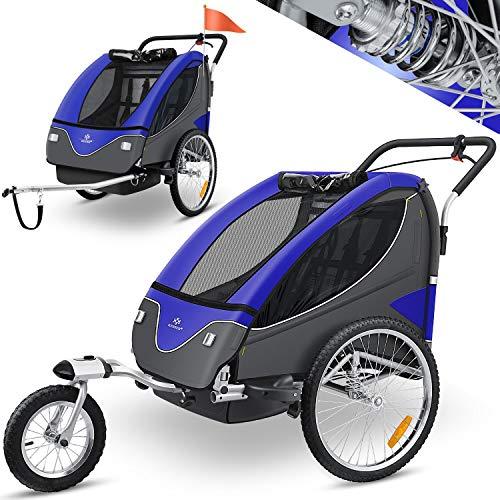 KESSER® Cruiser Kinderanhänger Fahrradanhänger 360° Drehbar mit Federung 2in1 Joggerfunktion Kinderfahrradanhänger + 5-Punkt Sicherheitsgurt, Jogger fahrrad Anhänger für 1 bis 2 Kinder max. 40kg Blau