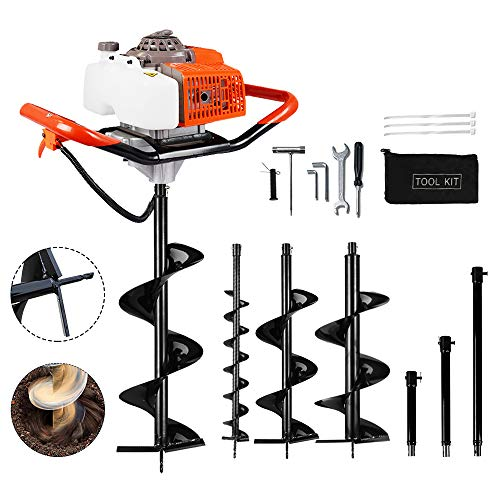 "ECO LLC 63cc Electric Post Hole Digger Fence Plant Soil Dig Powerhead include 4""10"" 12"" Digging Auger Bit Kit + Extension Bit"