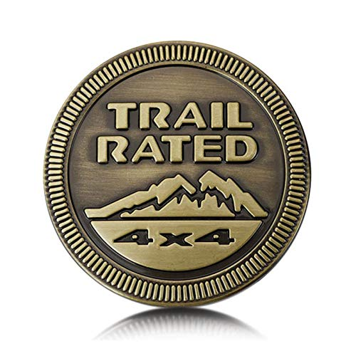 None/Brand Trail Rated 4X4 Metallo Distintivo Stemmi Emblemi Sticker per J-EEP Wrangler Cherokee Liberty,Ottone