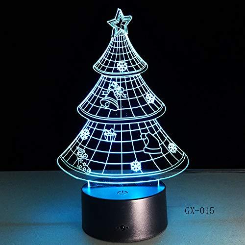BFMBCHDJ 7 farben acryl 3d nachtlicht frohe weihnachtsbaum led licht decor für schlafzimmer touch fernschalter lampe decor lampe