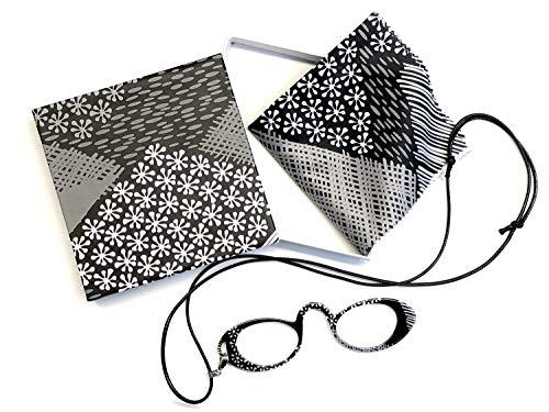 Kindler Elegante Lesebrille +2,0 schwarz Lognetten Design Nasenkneifer inkl. Microfasertuch