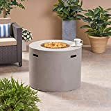 Great Deal Furniture Leo Outdoor 31' Round Light Weight Concrete Gas Burning Fire Pit, Light Gray