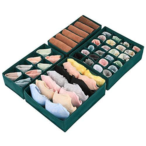 Magicfly Büstenhalter Aufbewahrungsbox, 4 Stück Faltbare BH Organizer für Unterwäsche, Dessous, Socken für Schublade Kleiderschrank, Dunkel Grün