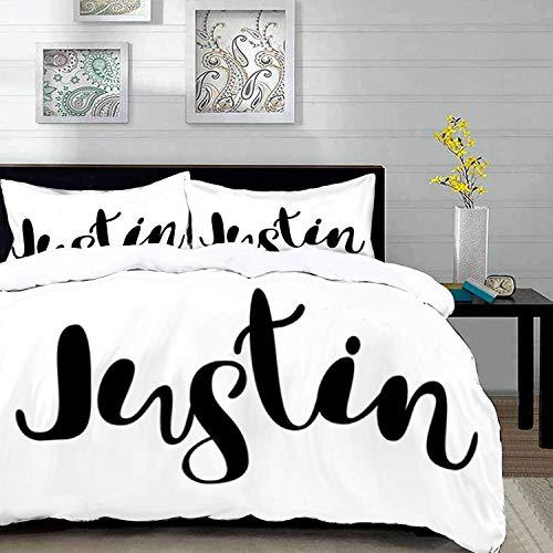 ropa de cama - Juego de funda nórdica, Justin, caligrafía moderna con el popular patrón de letras monocromáticas con nombres masculinos, blanco y negro, juego de funda nórdica de microfibra con 2 fund
