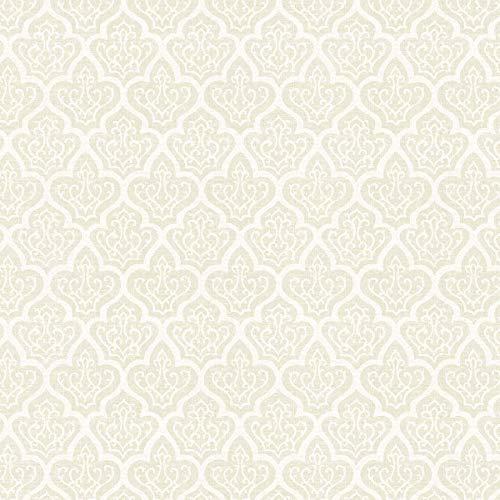 Ivory Damask Cotton Fabric by The Yard
