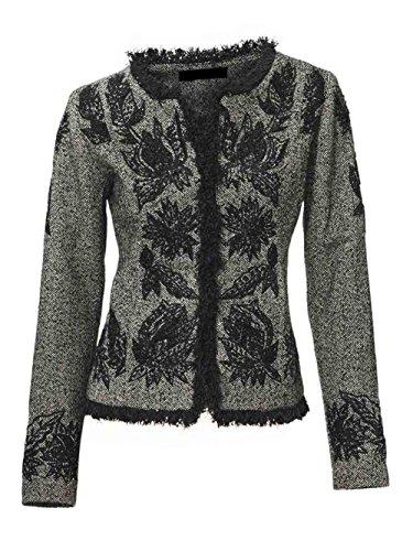 Ashley Brooke Designer-Wolljacke mit Stickerei grau Größe 40