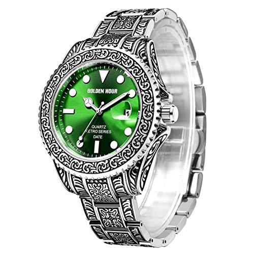 Reloj Retro para Hombre con patrón de Tatuaje Tallado de...