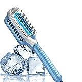 Monlida Cepillo Eléctrico Alisador de pelo, Peine Alisador de Cabello con Viento Frío y Tecnología de Iones (Para el Cabello Grueso/Delgado/Fino/Ondulado/Rizado), Azul