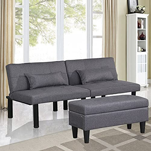 Futon Sofa Bed Loveseat Couch Set with Ottoman/Coffee Table, Tufted...
