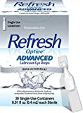 Refresh Optive Advanced Lubricant Eye Drops For Dry Eyes, Preservative-Free, 0.01 Fl Oz Single-Use Containers, 30 Count